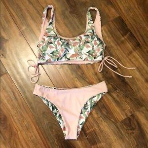 Reversible pink and green bikini